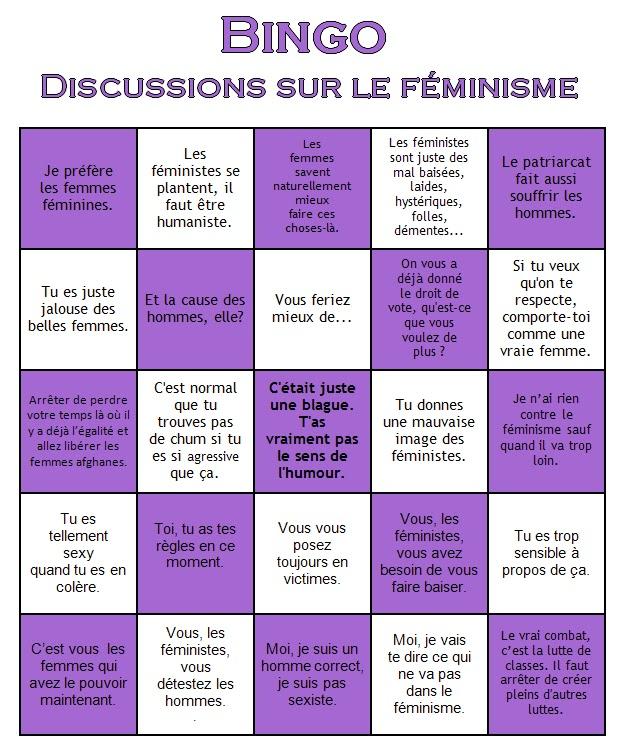 Bingo des discussions sur le féminisme