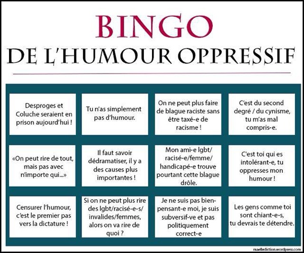 Bingo de l'humour oppressif